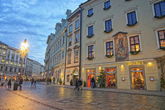 Main Market Square of the Old City in Krakow in Poland at Christ Royalty Free Stock Photos