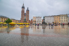 Main market square of the Old Town in Krakow, Poland Royalty Free Stock Photo