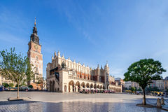Main Market Square Rynek in Krakow, Poland. Main Market Square Rynek in Cracow, Poland with the Renaissance Drapers` Hall Sukiennice, and medieval town hall Royalty Free Stock Photo