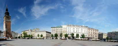 Main market square with Town Hall in Krakow, Poland royalty free stock images