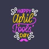 Main marquant avec des lettres le jour d'April Fools Illustration de vecteur Fond de vacances pour la carte de voeux, l'affiche e Photo stock