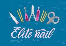 Main marquant avec des lettres le studio de clou d'élite avec des outils Pays de rappe de couleur de busines d'Internet de Web de illustration libre de droits