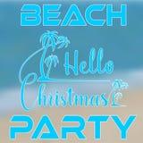 Main marquant avec des lettres Noël de bonjour avec des palmiers sur l'île illustration de vecteur