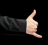Main masculine caucasienne dans un costume d'isolement Photo libre de droits