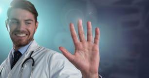 Main masculine d'ouverture de docteur pour toucher l'air images stock