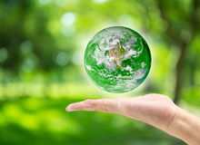 main masculine tenant la planète sur le fond vert brouillé de bokeh Photographie stock
