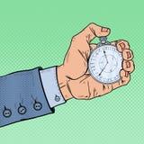 Main masculine tenant le chronomètre Gestion du temps Illustration d'art de bruit rétro Photographie stock libre de droits
