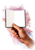 Main masculine tenant le livre, la carte, le passeport ou le certificat vide blanc, croquis Images stock