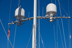 Main mast from a luxury yacht against sky Stock Photos