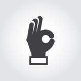 Main montrant le signe CORRECT Bras de geste, symbole de langage du corps Signe plat d'accord, approbation, émotion de positif d' illustration stock