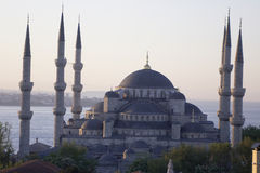 Main mosque of Istanbul - Sultan Ahmet camii (Blue mosque) at ea. Main mosque of Istanbul - Sultan Ahmet camii. Most famous as Blue mosque. View at early morning stock photography