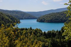 The main natural landmark of Croatia is the Plitvice Lakes with cascades of waterfalls. Emerald clear cold water on the background royalty free stock photography