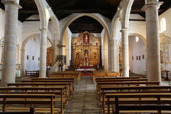 Main nave and altar in  Cathedral Church of Saint Mary of Betancuria in Fuerteventura Royalty Free Stock Photos
