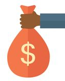 Main noire tenant un sac avec l'argent Image libre de droits