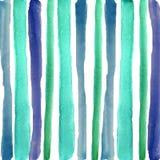 Main noyant les rayures bleues d'aquarelle illustration stock