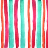 Main noyant les rayures bleues rouges d'aquarelle illustration stock