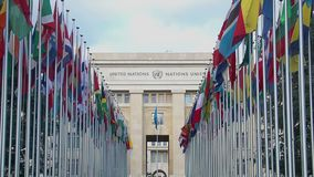 Main office of United Nations Organization in Geneva, international cooperation. Stock footage stock video footage