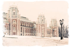 Main palace of 18th century in Tsaritsyno Park, Moscow, Russia, Stock Photo