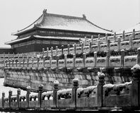 The Main Palace in Forbidden City under Snow Stock Photos