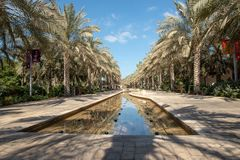 Main park alley and water feature, Abu Dhabi royalty free stock photo
