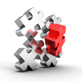 Main part of metallic jigsaw puzzle. 3d render illustration Royalty Free Stock Photo