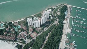 Main Pattaya Bay view from above sunny day aerial view. Video. Beautiful landscape aerial view. 4K stock video footage