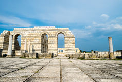 The main pavement with arches in the Great Basilica Pliska Royalty Free Stock Images