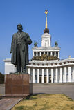 Main pavilion VVC Exhibition Moscow and statue of Lenin Royalty Free Stock Image