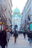 Main pedestrian street Graben and Hofburg Palace in Vienna, Aust Royalty Free Stock Images