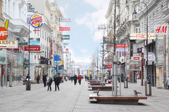 Main pedestrian street Kartner Strasse Royalty Free Stock Photos