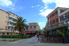 Main pedestrian street Lefkada, Greece Royalty Free Stock Photography