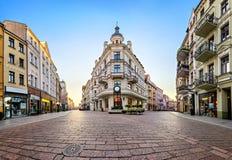 Main pedestrian street in old town of Torun. Poland royalty free stock photos