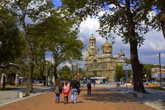 Main pedestrian street Varna Bulgaria Royalty Free Stock Photos