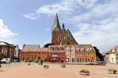 Main place of Barth. With red brick-gothic Saint  Mary church in the back, Mecklenburg-Hither Pomerania, Germany Stock Images