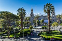 Main plaza in Arequipa, Peru. Royalty Free Stock Photos