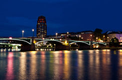 Main Plaza and bridge in Frankfurt am Main Royalty Free Stock Images