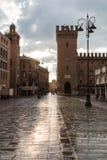 Main plaza of Ferrara city Stock Image
