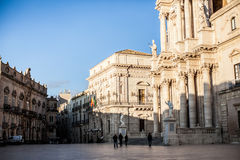 Main Plaza in Ortigia Royalty Free Stock Photos