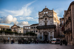 Main Plaza in Ortigia Stock Image