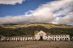 The main plaza of Villa de Leyva with a cloudy background Stock Photo