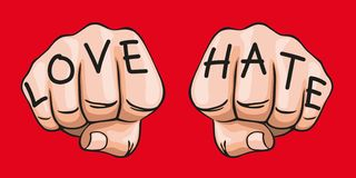 Concept of the expression of contrary feelings, with the words hate and love inscribed on two fists. royalty free illustration