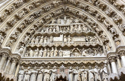 Main portal of the Cathedral in Amiens Royalty Free Stock Images