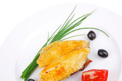 Main portion: served roast golden fish fillet Royalty Free Stock Image