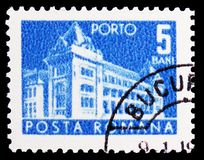 Main post office, Post and Telecommunications II serie, circa 1967. MOSCOW, RUSSIA - FEBRUARY 21, 2019: A stamp printed in Romania shows Main post office, Post royalty free stock photography