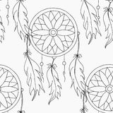 Main pour dessiner un modèle sans couture Dreamcatcher Photographie stock