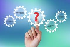 Main poussant l'icône de point d'interrogation avec des mots de question sur l'écran tactile image libre de droits