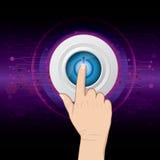 Main poussant le bouton de pouvoir Photo libre de droits