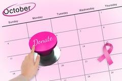 Main poussant le bouton rose pour la conscience de cancer du sein Images libres de droits