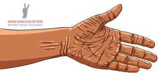 Main préparée pour la poignée de main, appartenance ethnique africaine, vecteur détaillé Images stock