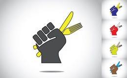 Main prête tenant la fourchette et le couteau pour manger de la nourriture Images stock